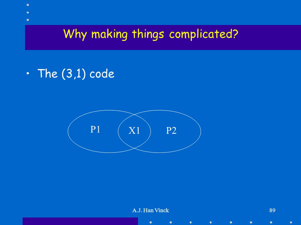 A.J. Han Vinck89 Why making things complicated The (3,1) code P1 P2X1