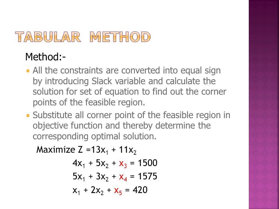 Method:-  All the constraints are converted into equal sign by introducing Slack variable and calculate the solution for set of equation to find out the corner points of the feasible region.