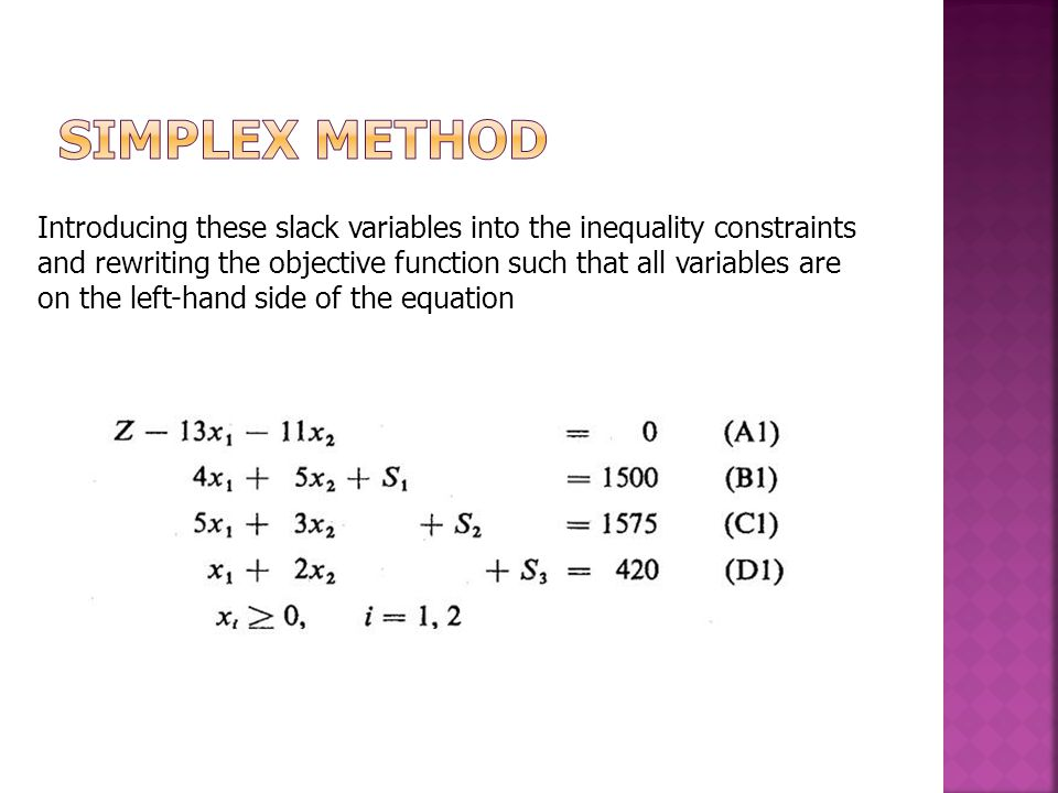 Introducing these slack variables into the inequality constraints and rewriting the objective function such that all variables are on the left-hand side of the equation