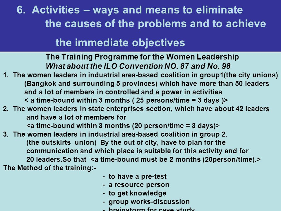 6. Activities – ways and means to eliminate the causes of the problems and to achieve the immediate objectives The Training Programme for the Women Le