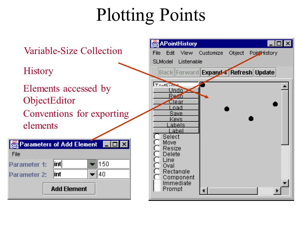 Plotting Points Variable-Size Collection History Elements accessed by ObjectEditor Conventions for exporting elements