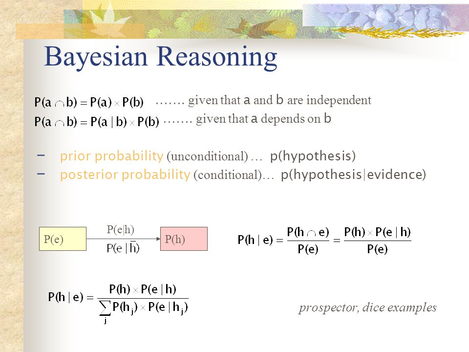 Bayesian Reasoning ……. given that a and b are independent …….