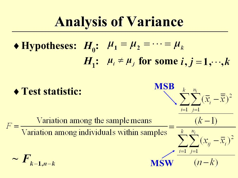 8 Analysis of Variance  Between Sum of Squares (SSB)  Within Sum of Squares (SSW)  Total Sum of Squares (SST)  SST = SSB + SSW