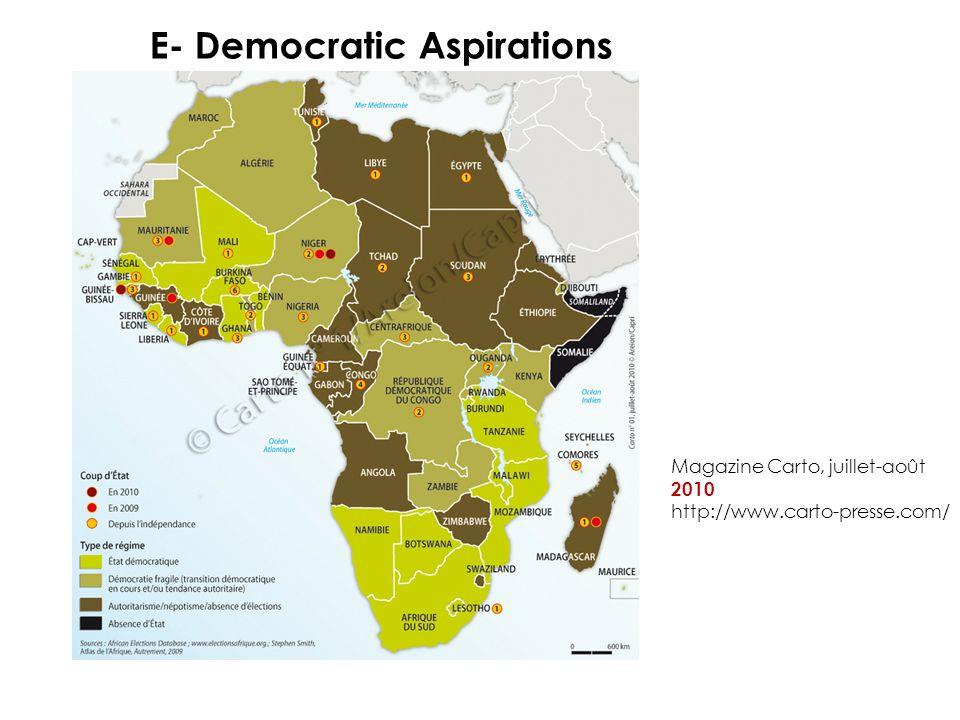 E- Democratic Aspirations Magazine Carto, juillet-août 2010 http://www.carto-presse.com/