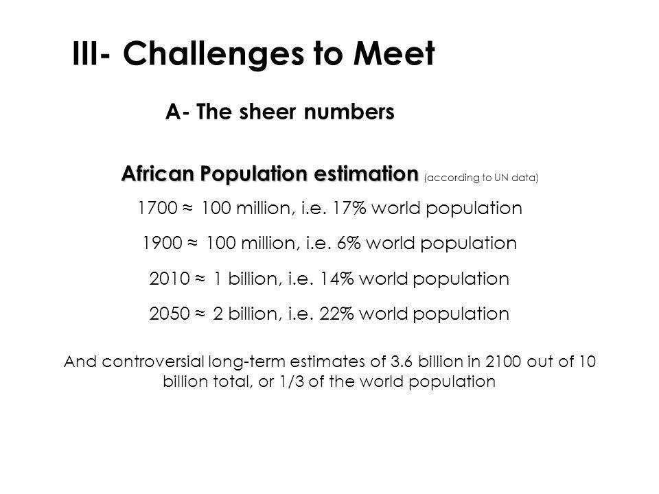 African Population estimation African Population estimation (according to UN data) 1700 ≈ 100 million, i.e. 17% world population 1900 ≈ 100 million, i