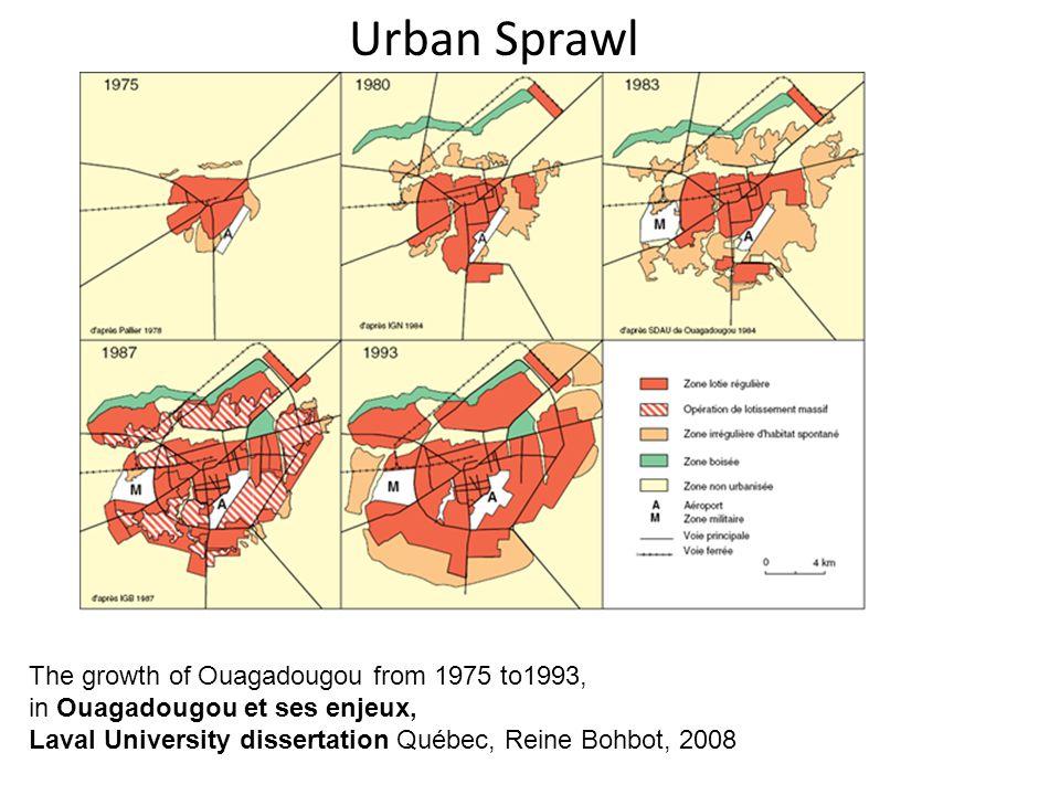 The growth of Ouagadougou from 1975 to1993, in Ouagadougou et ses enjeux, Laval University dissertation Québec, Reine Bohbot, 2008 Urban Sprawl