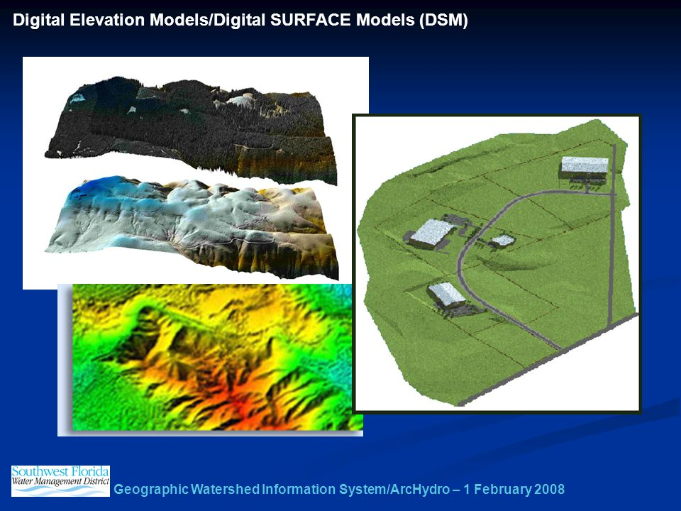 Geographic Watershed Information System/ArcHydro – 1 February 2008 Digital Elevation Models/Digital SURFACE Models (DSM)