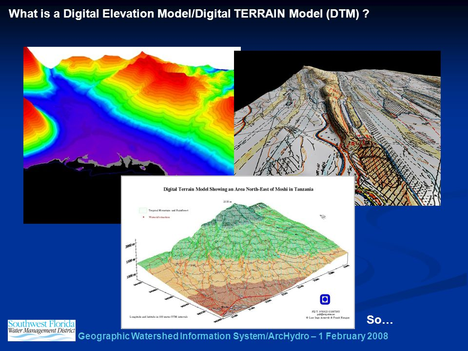 Geographic Watershed Information System/ArcHydro – 1 February 2008 What is a Digital Elevation Model/Digital TERRAIN Model (DTM) .