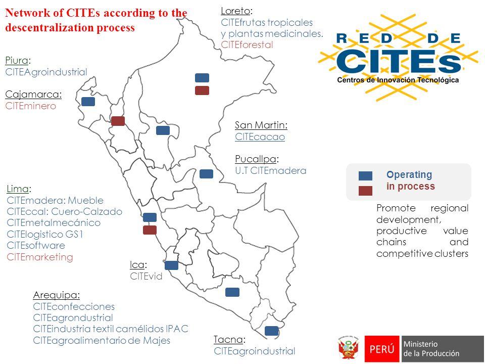 Tacna: CITEagroindustrial Piura: CITEAgroindustrial Cajamarca: CITEminero Loreto: CITEfrutas tropicales y plantas medicinales. CITEforestal Arequipa: