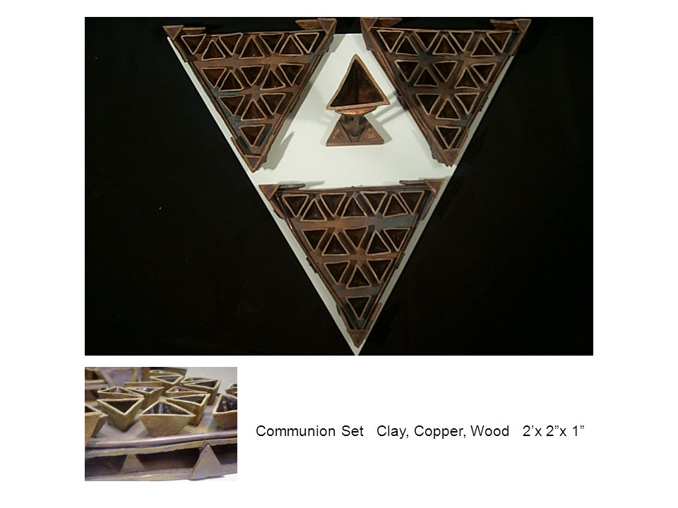 "Communion Set Clay, Copper, Wood 2'x 2""x 1"""
