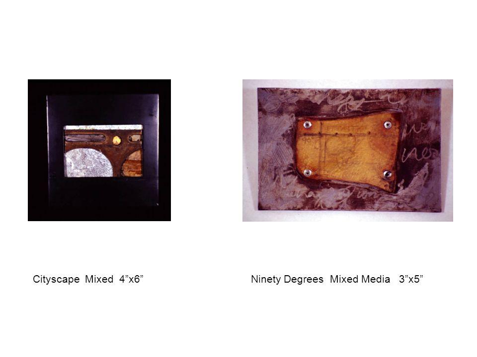 """Cityscape Mixed 4""""x6"""" Ninety Degrees Mixed Media 3""""x5"""""""