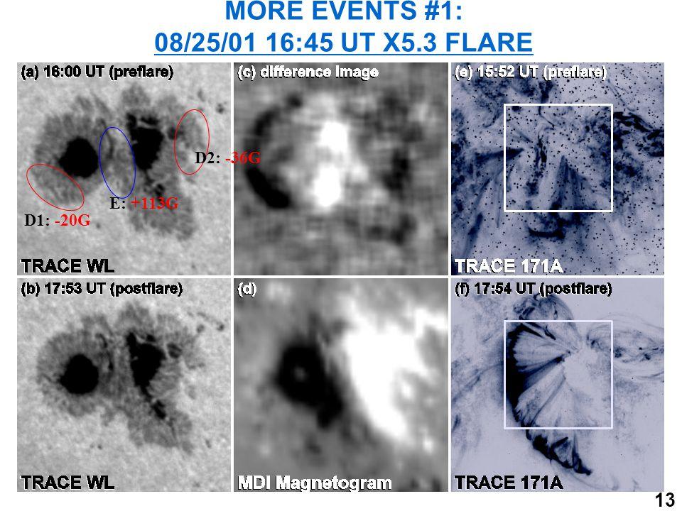 13 MORE EVENTS #1: 08/25/01 16:45 UT X5.3 FLARE D1: -20G D2: -36G E: +113G