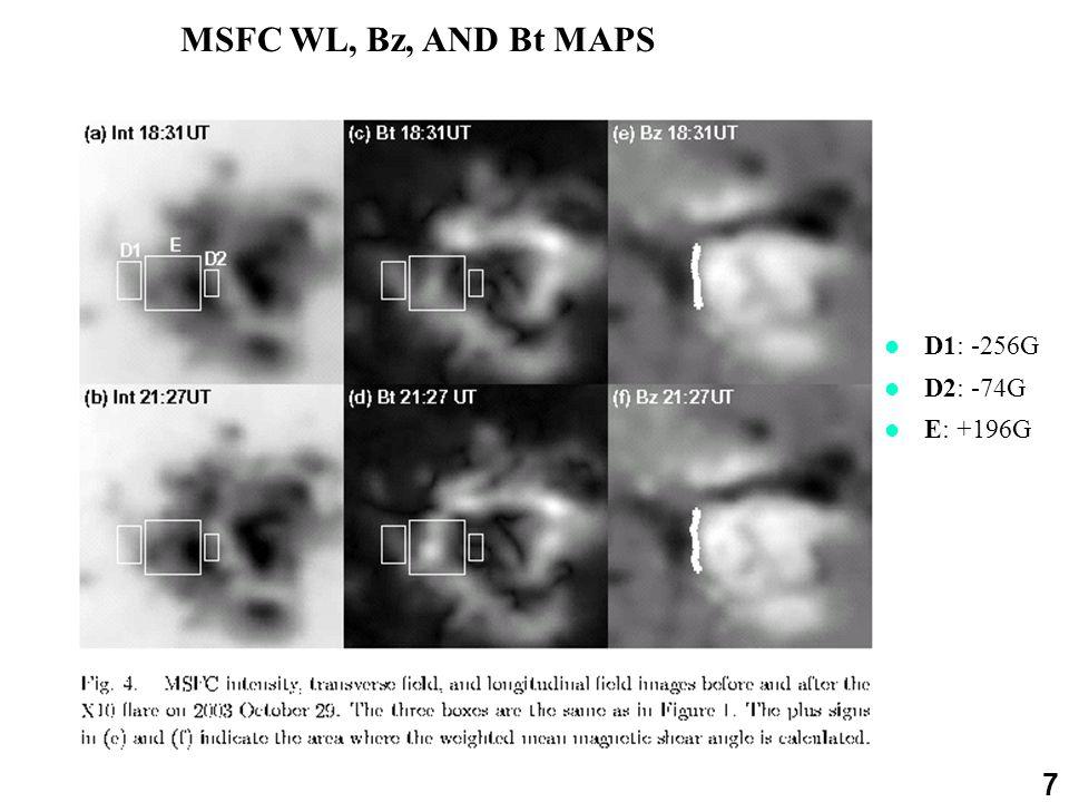 7 MSFC WL, Bz, AND Bt MAPS D1: -256G D2: -74G E: +196G