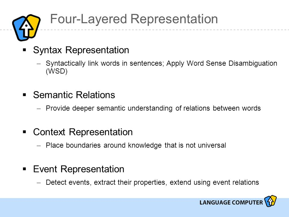 Four-Layered Representation  Syntax Representation –Syntactically link words in sentences; Apply Word Sense Disambiguation (WSD)  Semantic Relations –Provide deeper semantic understanding of relations between words  Context Representation –Place boundaries around knowledge that is not universal  Event Representation –Detect events, extract their properties, extend using event relations