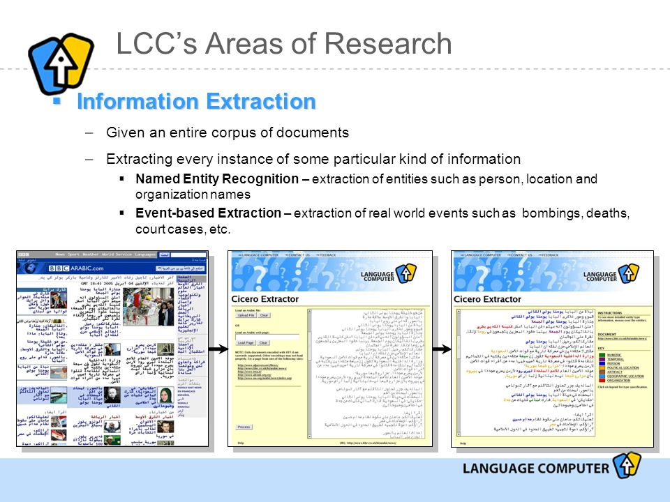  Information Extraction –Given an entire corpus of documents –Extracting every instance of some particular kind of information  Named Entity Recognition – extraction of entities such as person, location and organization names  Event-based Extraction – extraction of real world events such as bombings, deaths, court cases, etc.