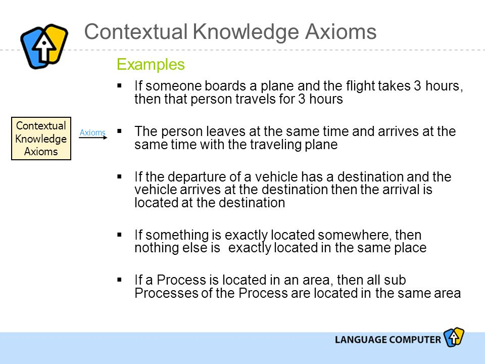 Contextual Knowledge Axioms Examples  If someone boards a plane and the flight takes 3 hours, then that person travels for 3 hours  The person leaves at the same time and arrives at the same time with the traveling plane  If the departure of a vehicle has a destination and the vehicle arrives at the destination then the arrival is located at the destination  If something is exactly located somewhere, then nothing else is exactly located in the same place  If a Process is located in an area, then all sub Processes of the Process are located in the same area Contextual Knowledge Axioms