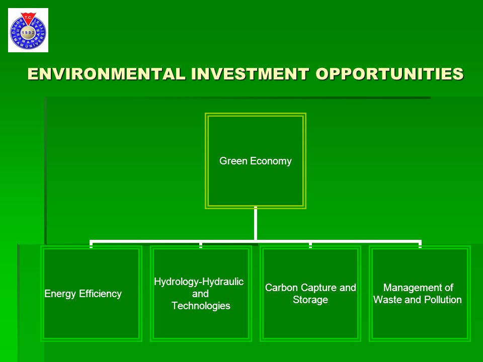 ENVIRONMENTAL INVESTMENT OPPORTUNITIES Green Economy Energy Efficiency Hydrology-Hydraulic and Technologies Carbon Capture and Storage Management of Waste and Pollution