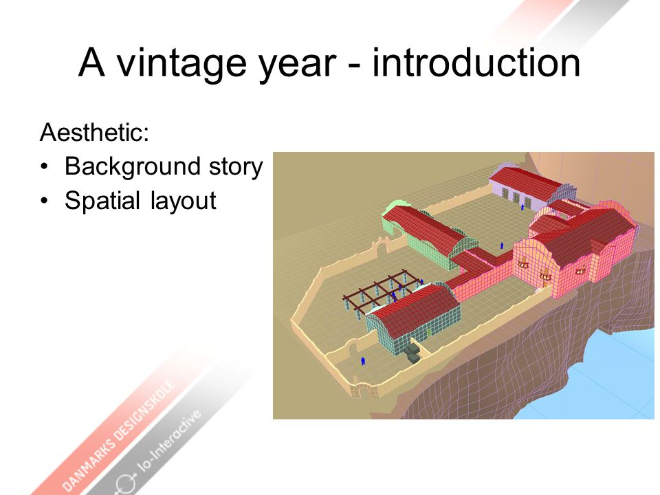 A vintage year - introduction Aesthetic: Background story Spatial layout