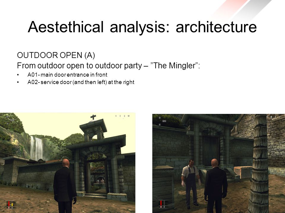 Aestethical analysis: architecture OUTDOOR OPEN (A) From outdoor open to outdoor party – The Mingler : A01- main door entrance in front A02- service door (and then left) at the right