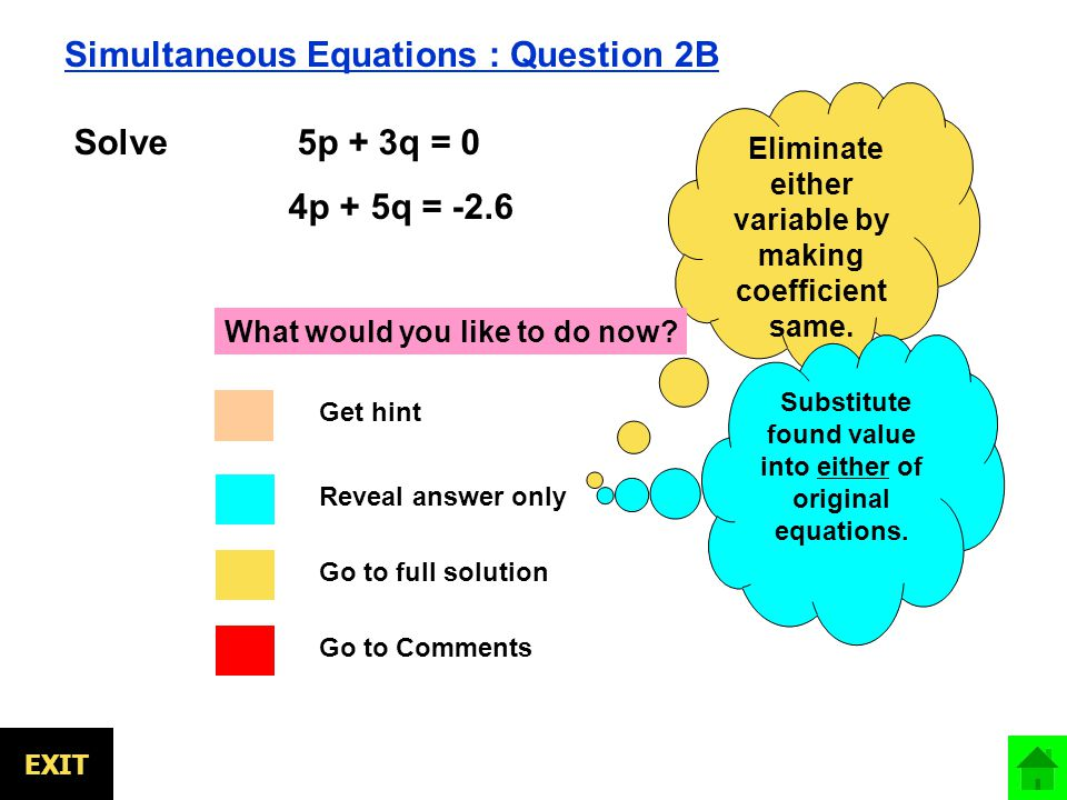 EXIT Simultaneous Equations : Question 2B Solve 5p + 3q = 0 4p + 5q = -2.6 Eliminate either variable by making coefficient same.