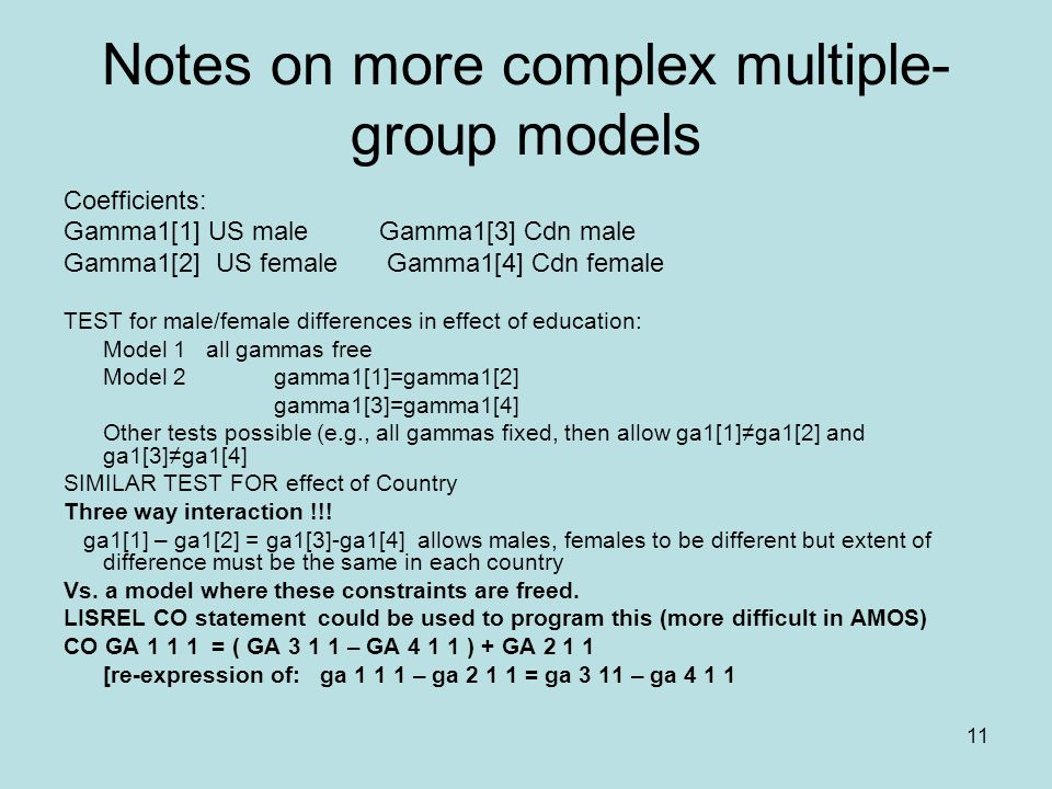 11 Notes on more complex multiple- group models Coefficients: Gamma1[1] US maleGamma1[3] Cdn male Gamma1[2] US female Gamma1[4] Cdn female TEST for ma
