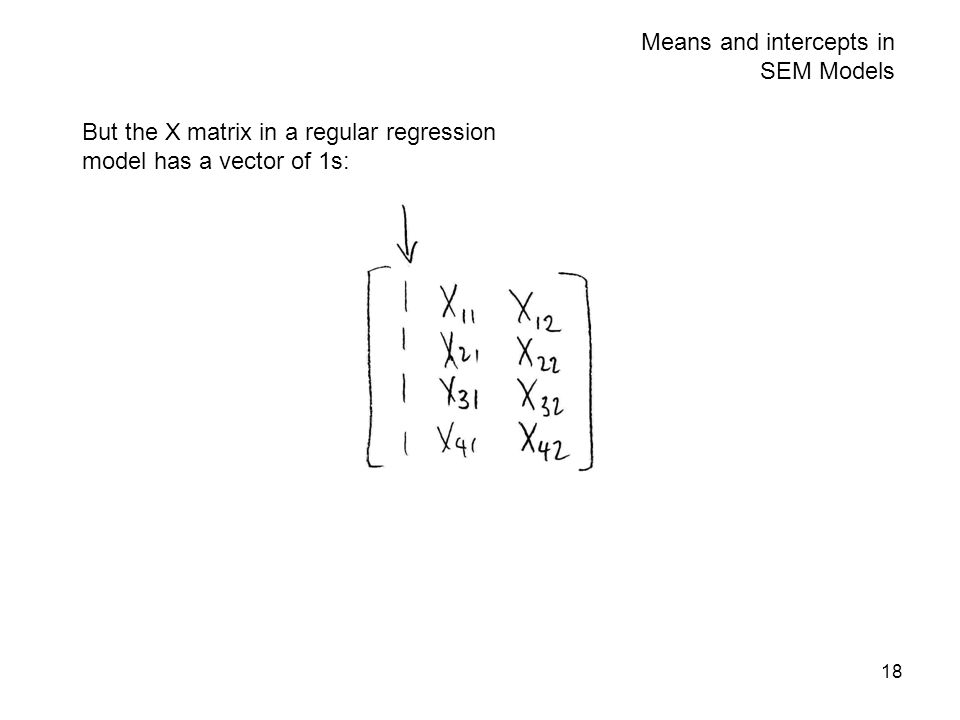 18 Means and intercepts in SEM Models But the X matrix in a regular regression model has a vector of 1s: