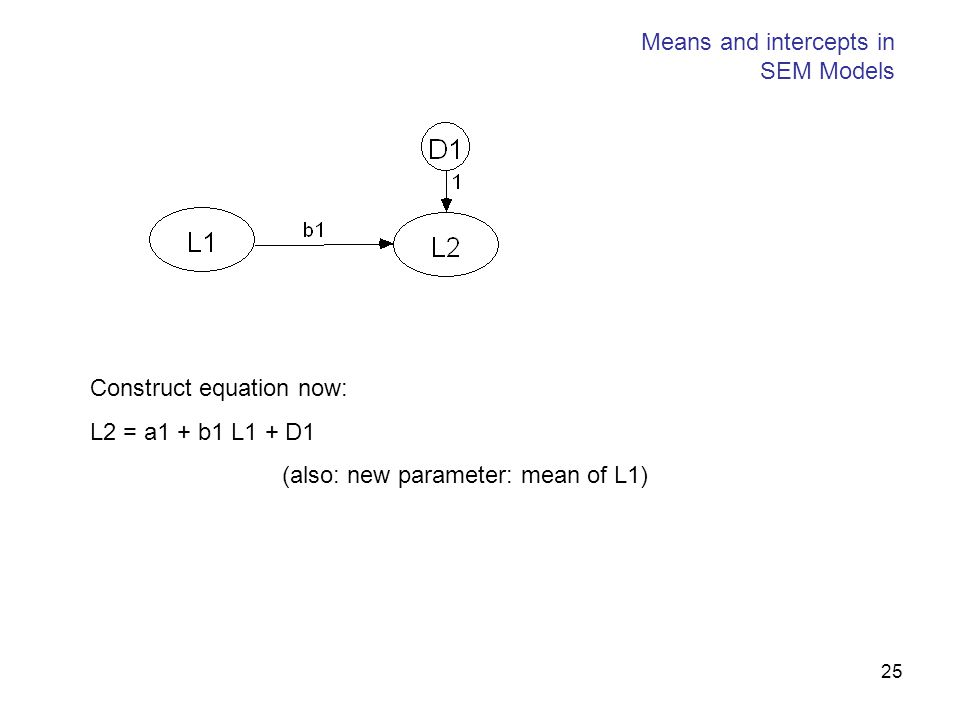 25 Means and intercepts in SEM Models Construct equation now: L2 = a1 + b1 L1 + D1 (also: new parameter: mean of L1)