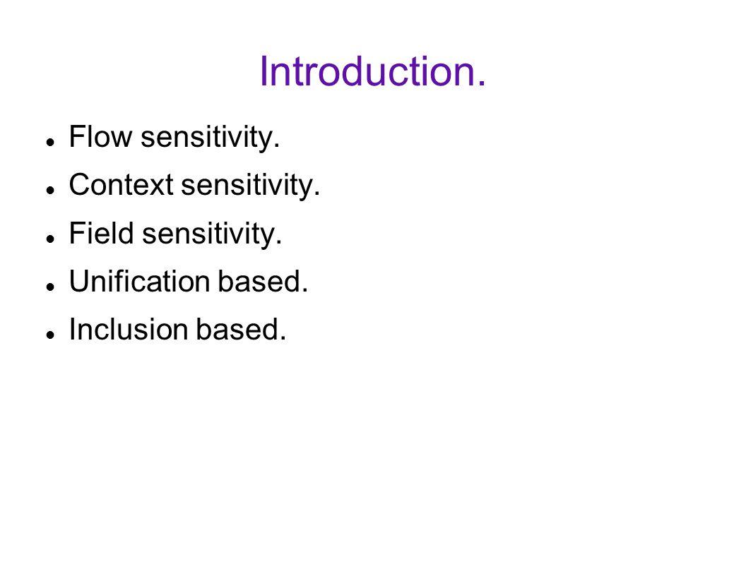 Introduction. Flow sensitivity. Context sensitivity.