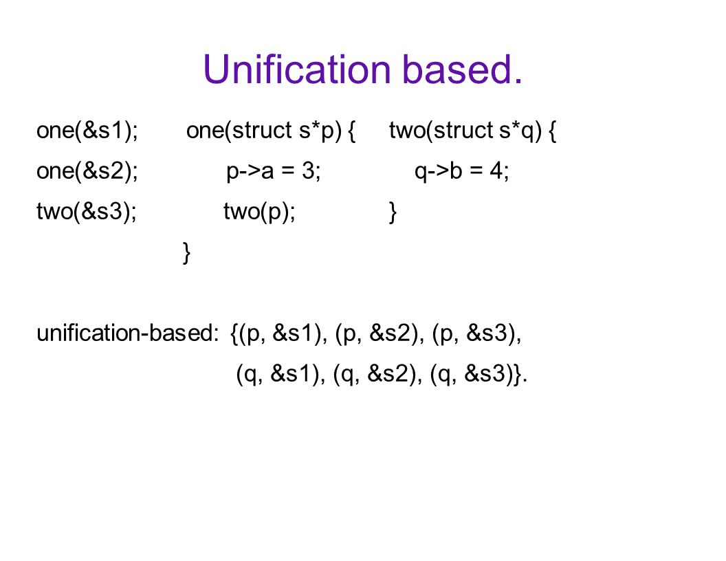 Unification based. one(&s1); one(struct s*p) { two(struct s*q) { one(&s2); p->a = 3; q->b = 4; two(&s3); two(p); } } unification-based: {(p, &s1), (p,