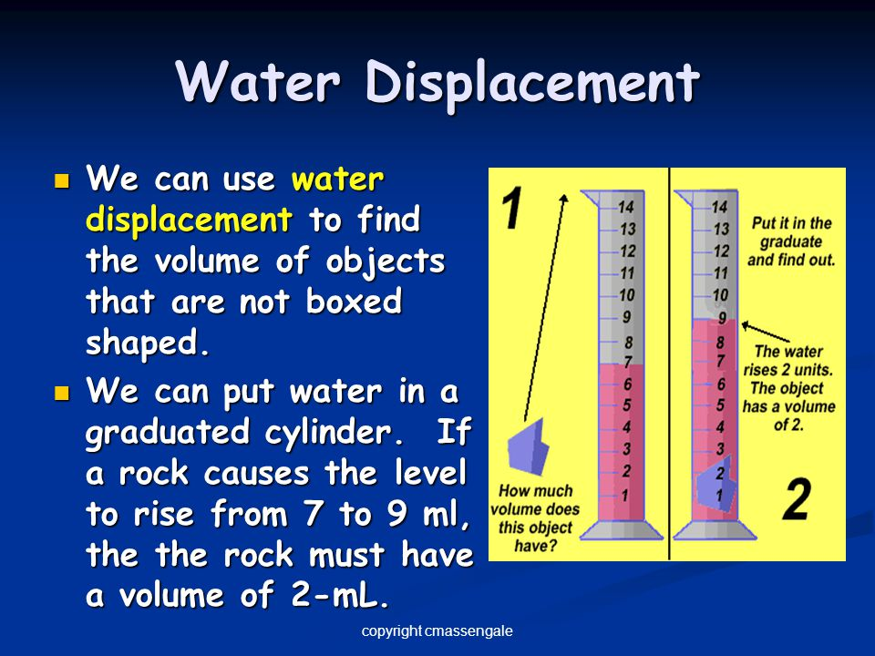 Water Displacement We can use water displacement to find the volume of objects that are not boxed shaped. We can use water displacement to find the vo