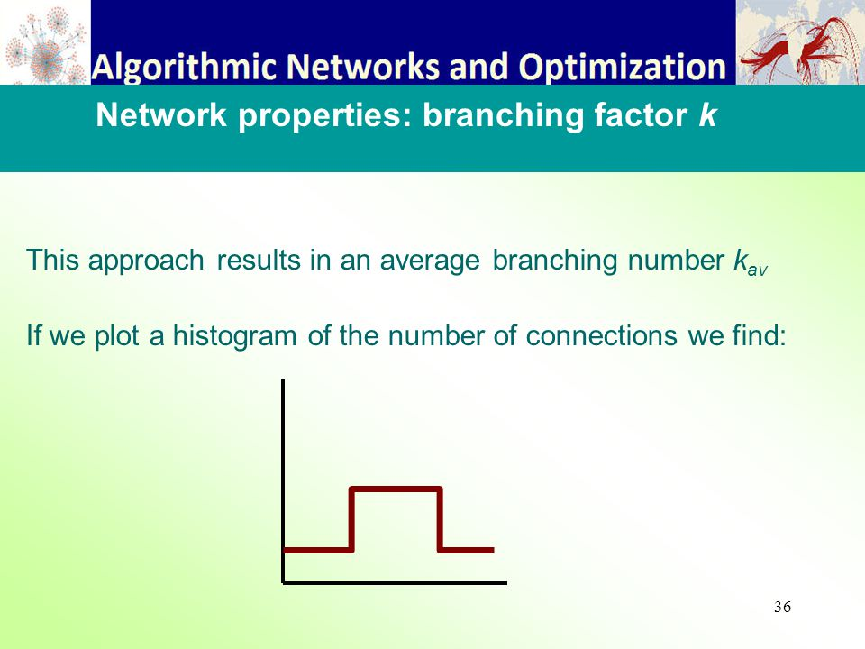 36 This approach results in an average branching number k av If we plot a histogram of the number of connections we find: Network properties: branching factor k