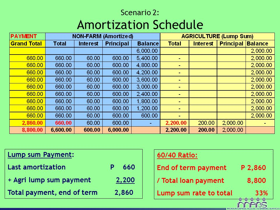 Scenario 2: Amortization Schedule Lump sum Payment: Last amortization P 660 + Agri lump sum payment 2,200 Total payment, end of term 2,860 60/40 Ratio: End of term payment P 2,860 / Total loan payment 8,800 Lump sum rate to total 33%