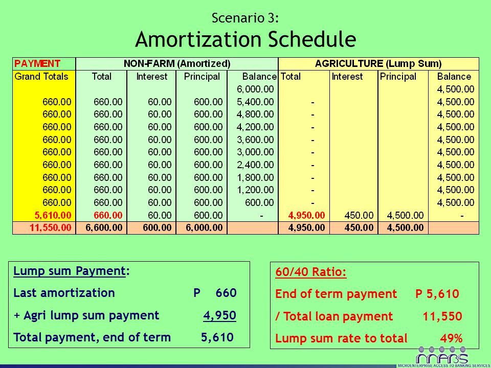 Scenario 3: Amortization Schedule 60/40 Ratio: End of term payment P 5,610 / Total loan payment 11,550 Lump sum rate to total 49% Lump sum Payment: La