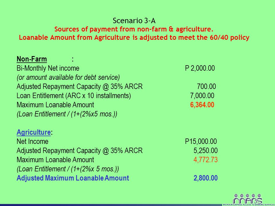 Non-Farm: Bi-Monthly Net income P 2,000.00 (or amount available for debt service) Adjusted Repayment Capacity @ 35% ARCR 700.00 Loan Entitlement (ARC x 10 installments) 7,000.00 Maximum Loanable Amount 6,364.00 (Loan Entitlement / (1+(2%x5 mos.)) Agriculture: Net Income P15,000.00 Adjusted Repayment Capacity @ 35% ARCR 5,250.00 Maximum Loanable Amount 4,772.73 (Loan Entitlement / (1+(2%x 5 mos.)) Adjusted Maximum Loanable Amount 2,800.00 Scenario 3-A Sources of payment from non-farm & agriculture.