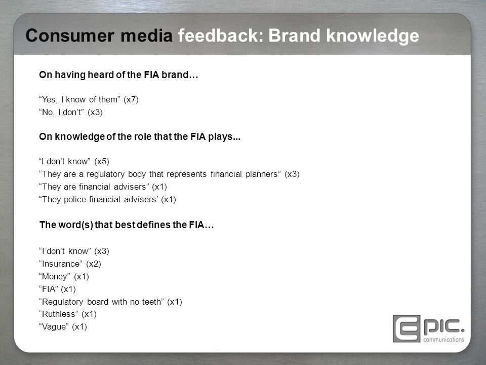 "Consumer media feedback: Brand knowledge On having heard of the FIA brand… ""Yes, I know of them"" (x7) ""No, I don't"" (x3) On knowledge of the role that"