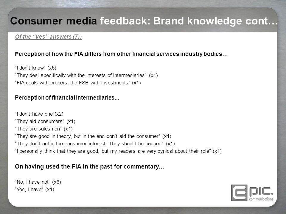 "Consumer media feedback: Brand knowledge cont… Of the ""yes"" answers (7): Perception of how the FIA differs from other financial services industry bodi"