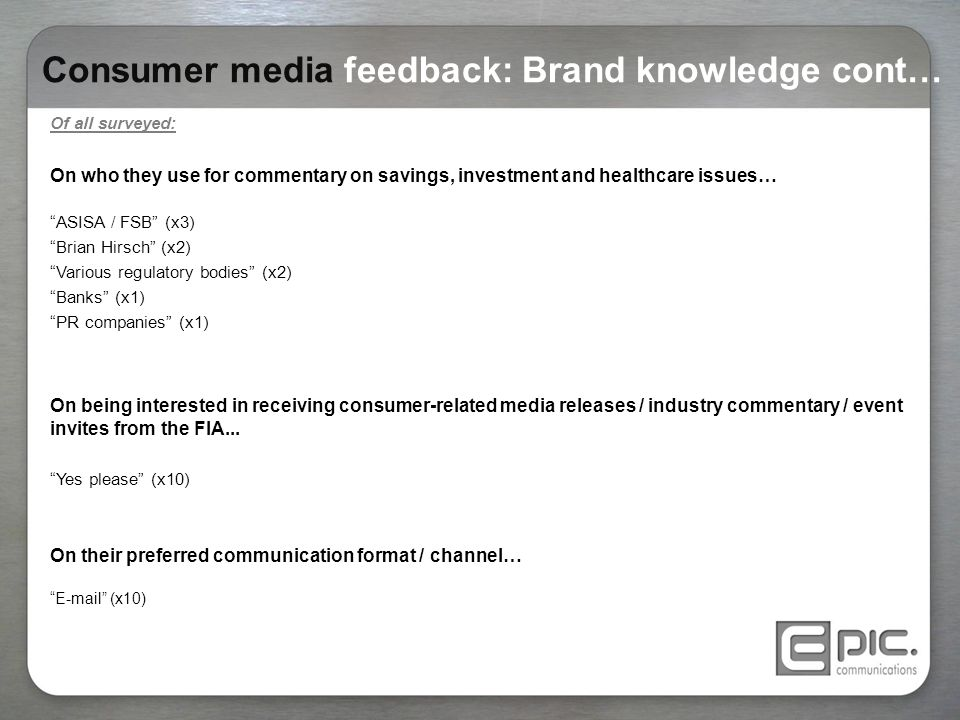 "Consumer media feedback: Brand knowledge cont… Of all surveyed: On who they use for commentary on savings, investment and healthcare issues… ""ASISA /"