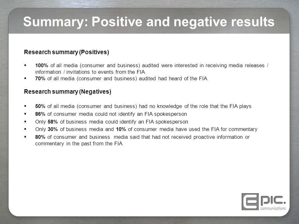 Summary: Positive and negative results Research summary (Positives)  100% of all media (consumer and business) audited were interested in receiving m