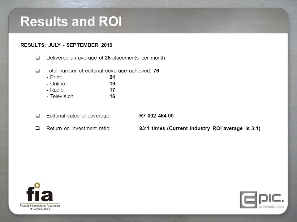 RESULTS: JULY - SEPTEMBER 2010  Delivered an average of 25 placements per month  Total number of editorial coverage achieved: 76 -Print:24 -Online:1