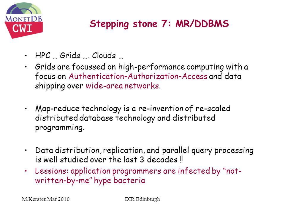 M.Kersten Mar 2010 Stepping stone 7: MR/DDBMS HPC … Grids ….