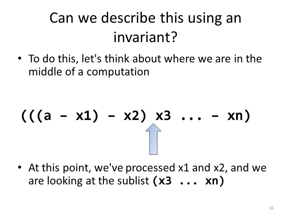 Can we describe this using an invariant.