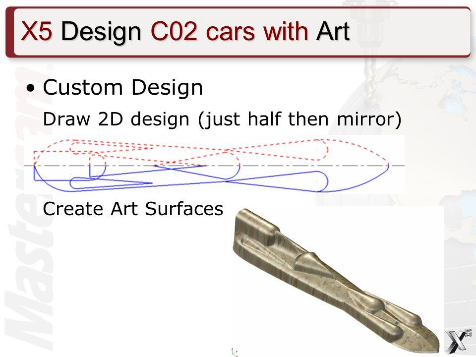 Custom Design Draw 2D design (just half then mirror) Create Art Surfaces X5 Design C02 cars with Art
