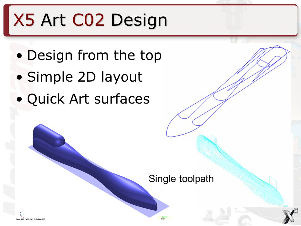 Design from the top Simple 2D layout Quick Art surfaces X5 Art C02 Design Single toolpath