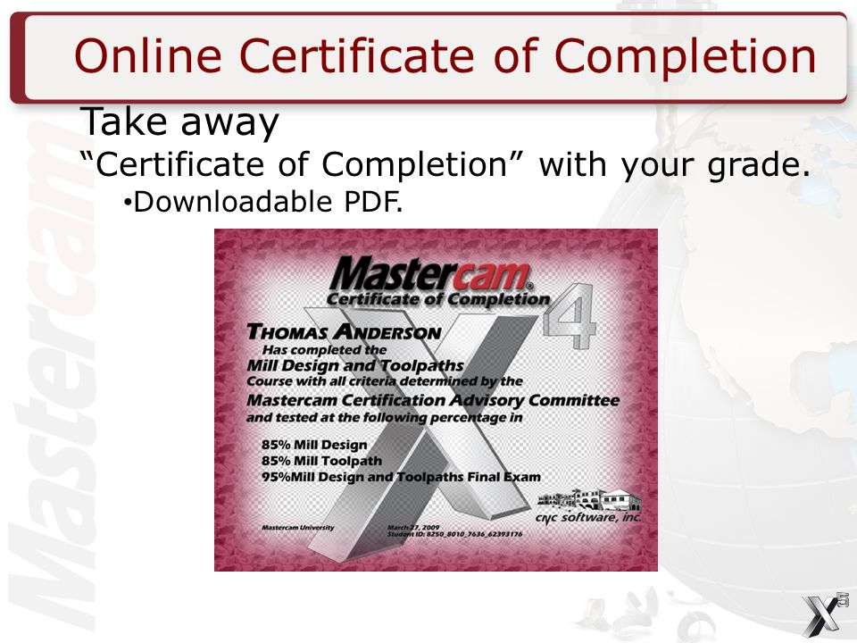 Online Certificate of Completion Take away Certificate of Completion with your grade.