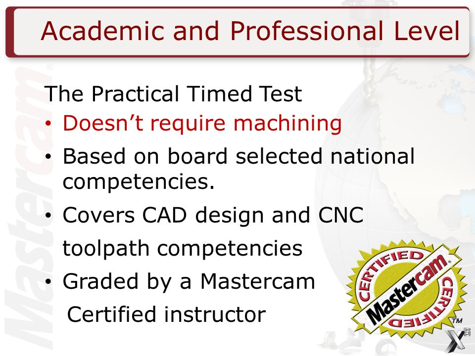 Academic and Professional Level The Practical Timed Test Doesn't require machining Based on board selected national competencies.