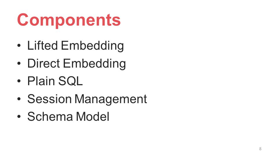 Components Lifted Embedding Direct Embedding Plain SQL Session Management Schema Model 8