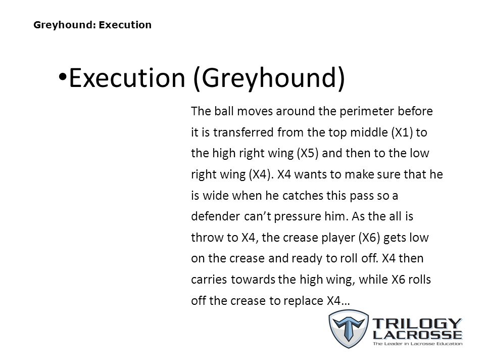 Greyhound: Execution The ball moves around the perimeter before it is transferred from the top middle (X1) to the high right wing (X5) and then to the low right wing (X4).