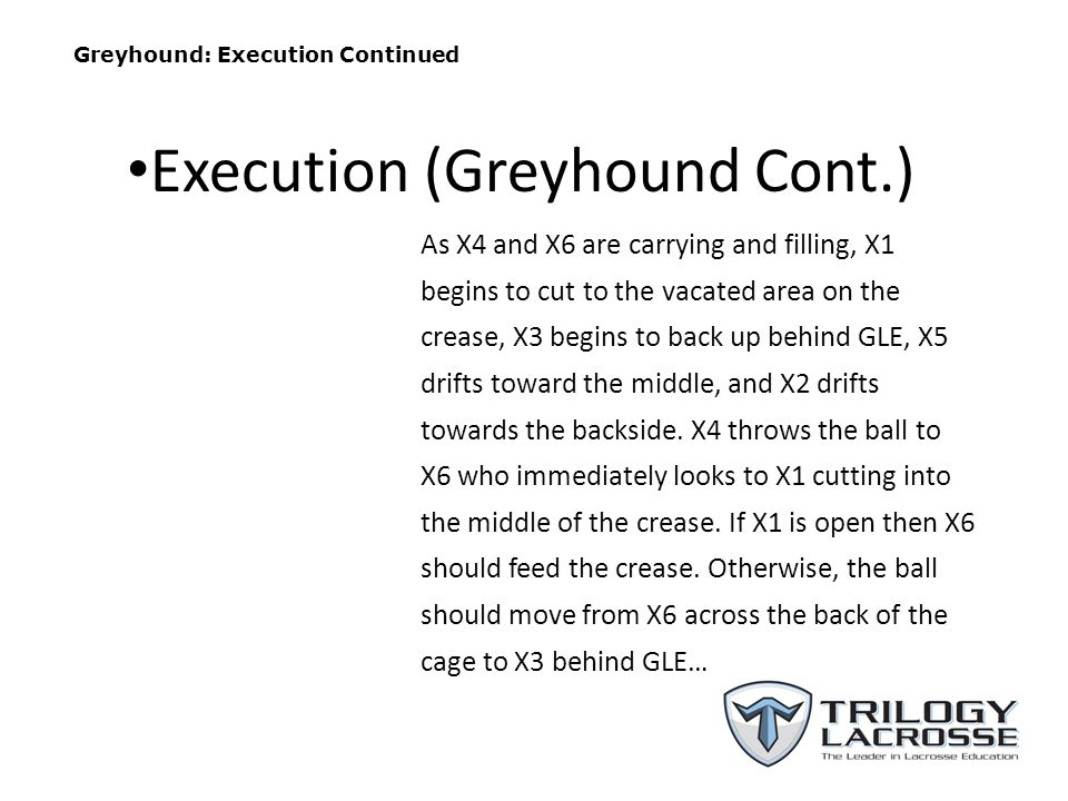 Greyhound: Execution Continued As X4 and X6 are carrying and filling, X1 begins to cut to the vacated area on the crease, X3 begins to back up behind GLE, X5 drifts toward the middle, and X2 drifts towards the backside.