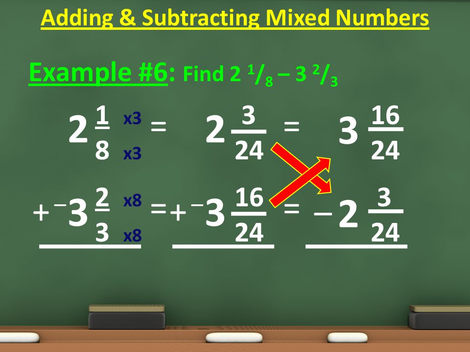 Example #6: Find 2 1 / 8 – 3 2 / 3 1 x3 3 16 8 x3 24 24 2 x8 16 3 3 x8 24 24 = = Adding & Subtracting Mixed Numbers 2 3 2 3 = = 3 2 – + –+ – + –+ –
