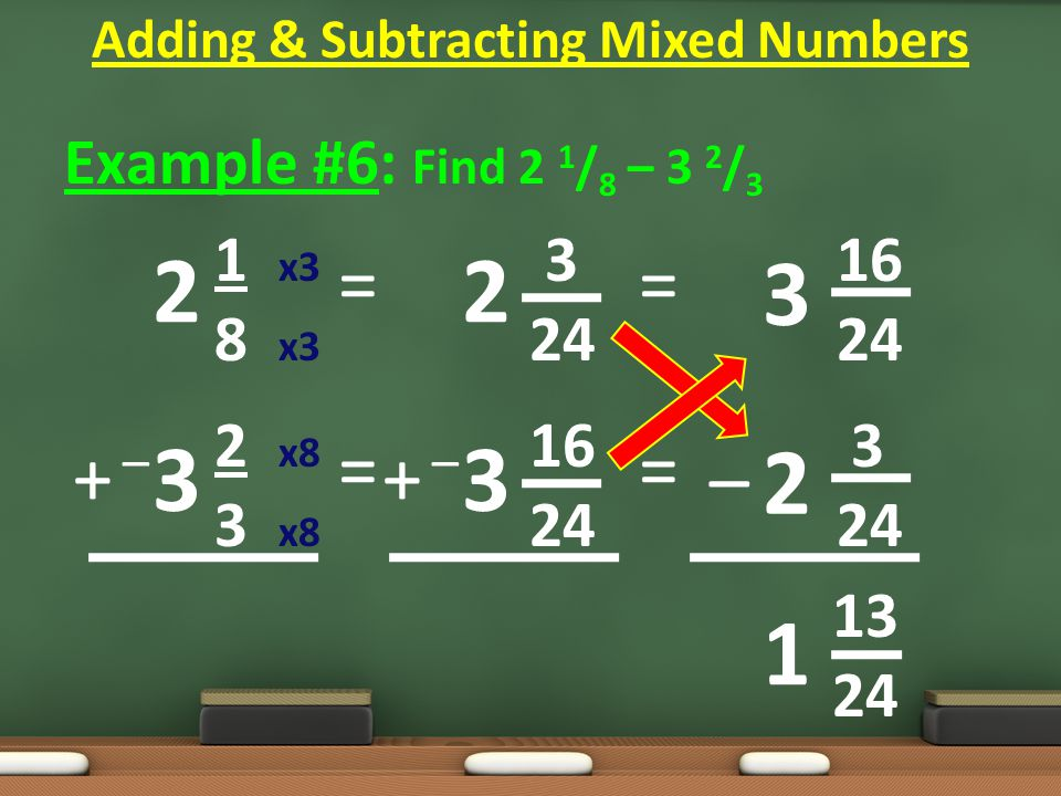 Example #6: Find 2 1 / 8 – 3 2 / 3 1 x3 3 16 8 x3 24 24 2 x8 16 3 3 x8 24 24 13 24 = = Adding & Subtracting Mixed Numbers 2 3 2 3 1 = = 3 2 – + –+ – + –+ –
